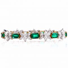 1980's Certified Emerald Diamond Platinum Gold Bracelet