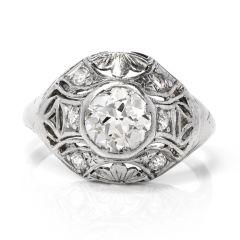 Antique 1.01cts Art Deco Diamond Platinum Engagement Ring
