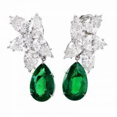 Extraordinary GIA Diamond Emerald Platinum Clip-On Day & Night Earrings