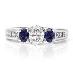 Oval Diamond Sapphire Three Stone White Gold Engagement Ring