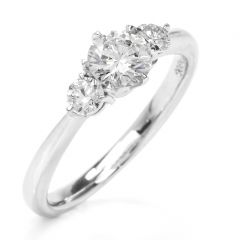 Estate 0.66 ct  Diamond 3-Stone Platinum Engagement Ring