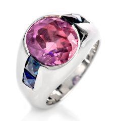 Pinkish Purple and Blue Sapphire Platinum Dome Ring