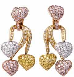 Estate GIA Fancy Pink, Yellow & White Diamond  Gold Pendant Earrings