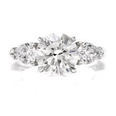 GIA Certified 3.41cts Round Brilliant Cut Diamond Platinum Engagement Ring