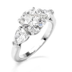 GIA Certified 3.41cts Round Brilliant Cut Diamond Platinum Engagement Ring
