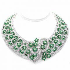 Diamond Emerald 18K Gold Collar Necklace
