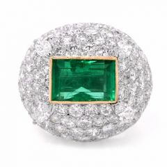 1960'S Colombian Diamond Emerald 18K Gold Dome Ring