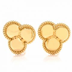 High Polish Large  Italian 18K Yellow Gold Clip-Back  Stud Earrings