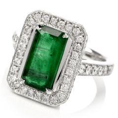 Estate Rectangle Emerald Diamond Gold Cocktail Ring