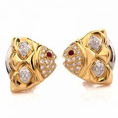 Estate 18K Gold Diamond & Ruby Fish Motif Clip-Back Earrings