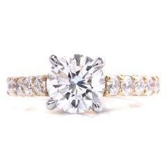 GIA 2.01ct Diamond Platinum 18K Yellow Gold Engagement Ring