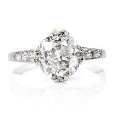 Antique Art Deco Cushion Diamond Platinum Engagement Ring