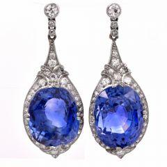 Antique Deco 35.99cts Ceylon Sapphire No Heat Diamond Drop Platinum Earrings