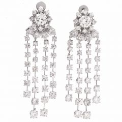 Sparkling 14.16cts Diamond Platinum Cascading Chandelier Earrings