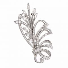 Vintage Retro 15.69cts Diamond Platinum Floral Bouquet Lapel Brooch