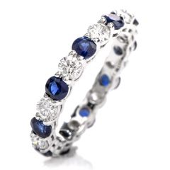 Classic Diamond Sapphire 18K Eternity Band Ring