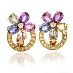Bvlgari Flower Natural Sapphire Diamond 18K Yellow Gold Bulgari Earrings