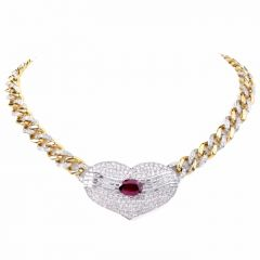 Ruby Diamond Pendant Chocher Link Necklace
