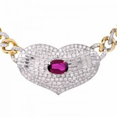 Estate 15.54 carats Ruby Diamond Pendant Choker Link Necklace