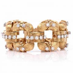 Vintage 10.50cts Diamond Textured Yellow Gold Link Bracelet