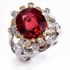 Estate GIA Orangy Red Tourmaline & Diamond 18k Gold Cocktail Ring