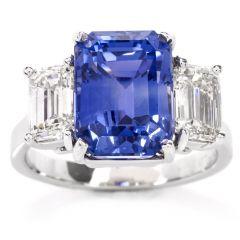 Blue Sapphire Diamond Three Stone Platinum Engagement Ring
