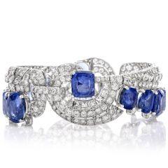 Jewels of the Nile 22.86 Carats Diamond 77.03 Carats GIA Natural Non Heated Sri Lanka Sapphire Platinum Bracelet