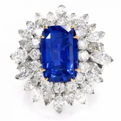 Vintage Burma No Heat 13.65ct Sapphire Diamond Platinum Large Cluster Cocktail Ring