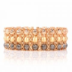 Italian 18K Tri Tone Gold Wide Beaded Filigree Bracelet