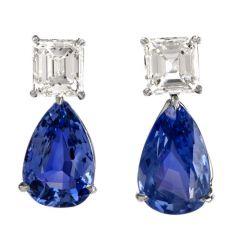 Natural GIA Blue Sapphire Diamond Pear Drop Platinum Earrings