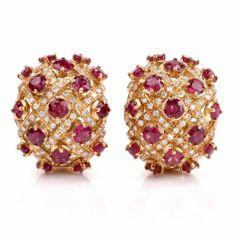 Estate Ruby Diamond Yellow 18-karat Gold Clip-on Earrings