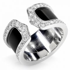 "Cartier ""Double C"" Diamond &18K White Gold Open Band Ring"