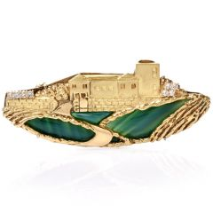 Estate Agate Diamond Ocean Village Brooch Pin