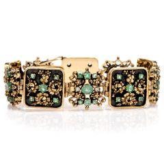 Estate Diamond Emerald 10K Wide Floral Cluster Link Bracelet
