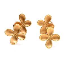 Angela Cummings 1980s Yellow Gold  Clip-on Flower Earrings