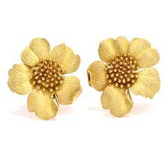 Tiffany & Co Jumbo Rose Flower Flower 18K Clip-on Earrings