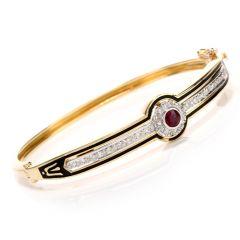 Antique 18K Diamond and Ruby Enameled Bangle Bracelet