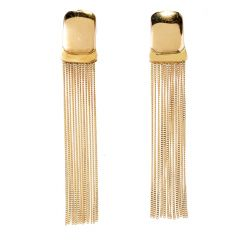 Estate 18K Yellow Gold Long Dangle Fringe Earrings