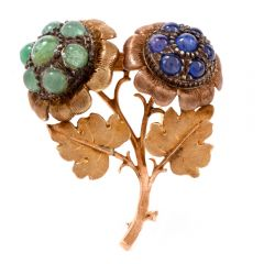 Buccellati Vintage Emerald Sapphire Yellow Gold Floral Pin Brooch