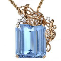 Seaman Schepps Vintage Aquamarine Diamond Brooch Pin
