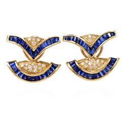 Estate Sapphire Diamond Yellow Gold Clip-on Earrings