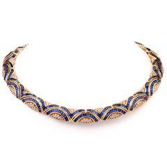 Vintage Blue Sapphire Diamond 18 Karat Yellow Gold Choker Necklace