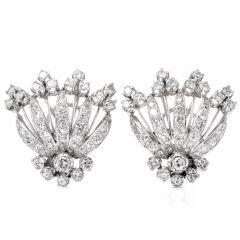 Vintage Retro 5.50 carats Diamond Platinum Clip-Back Earrings