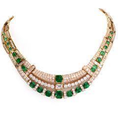 Estate Diamond Emerald 18K Yellow Gold Link Necklace