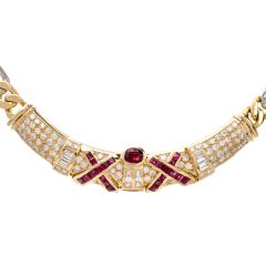 Estate 23.10 carats Diamond and Red Ruby 18k Gold Choker Necklace