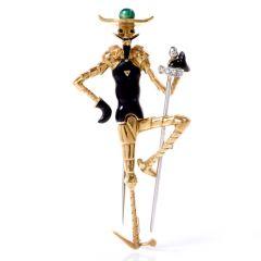Vintage Enamel Diamond Don Quixote of La Mancha 18K Pin