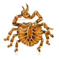 Vinatge Enamel Crab 18K Yellow Gold Pin Brooch