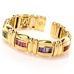 Jeffrey Stevens Rainbow Multi-Stone Gold Bangle Bracelet