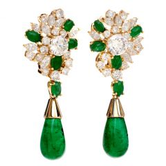 Estate Emerald 18K Yellow Gold Dangle Drop Clip Back Earrings