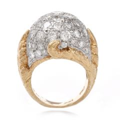 Vinatge-diamond-platinum-yellow-gold-bombe-cocktail-ring